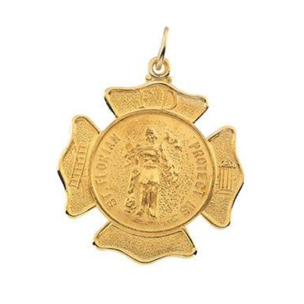 Round Saint Florian Fire Fighter Medal in Solid 14 Karat Yellow Gold Protect Us Medal 25 MM