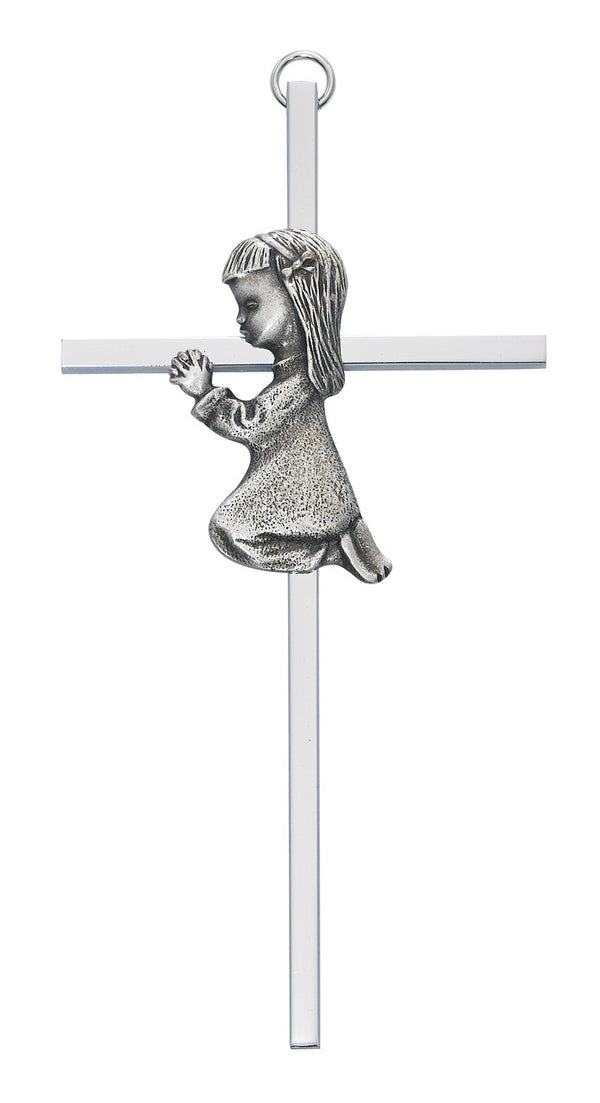 Praying Girl Baby Wall Cross Aluminum 6 Inches
