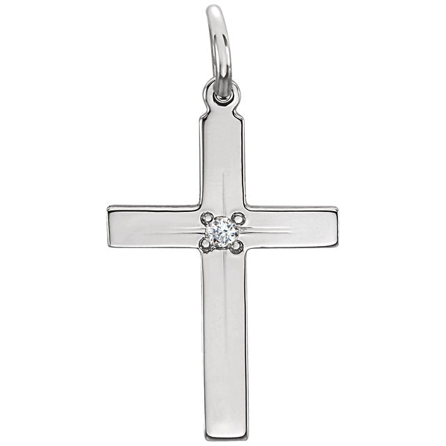 Flush Mount Single Diamond Flat Cross in Solid 14 Karat White Gold