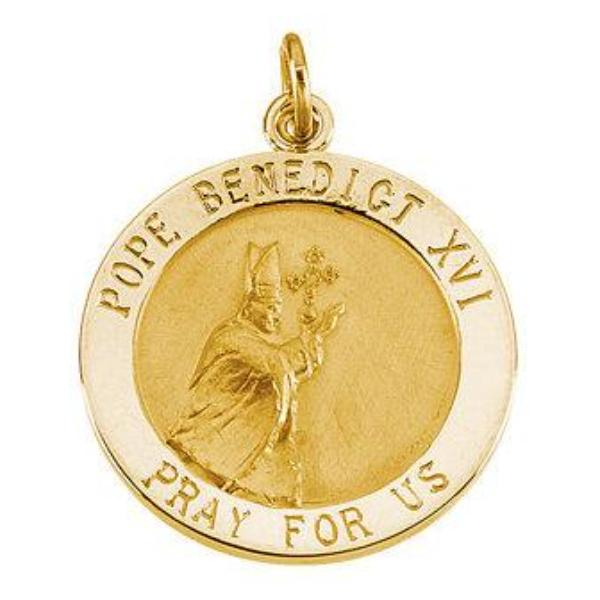 Pope Benedict 14kt Yellow Medal 18 MM