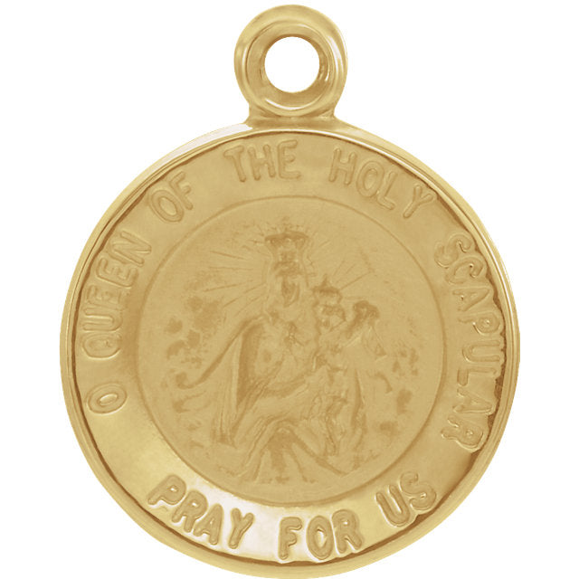 Scapular Yellow Gold Round Medal