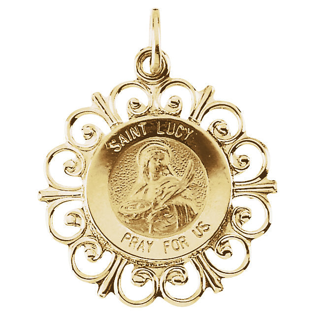 Saint Lucy Round Medal Fleur De Lis Pendant in 14 Karat Yellow Gold 18 MM