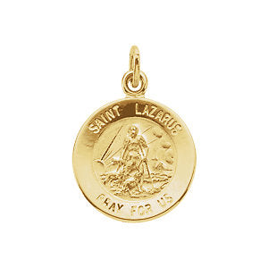 St Lazarus Yellow Gold Round Medal