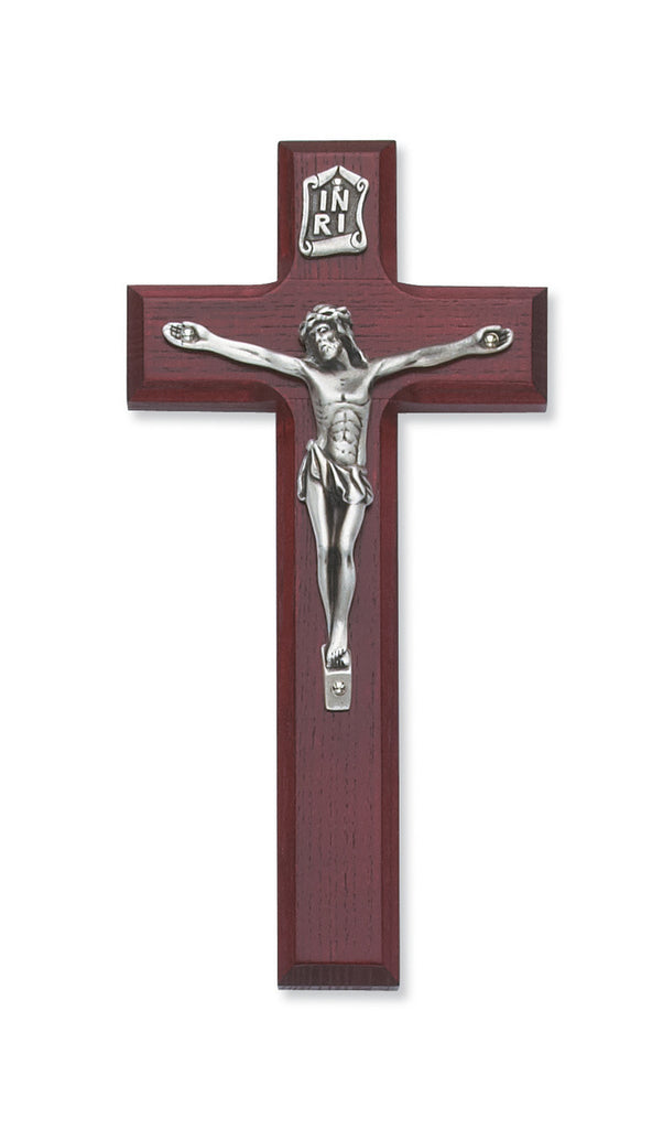 Cherry Wood Wall Crucifix Cross Silver Color Corpus INRI 7 Inch
