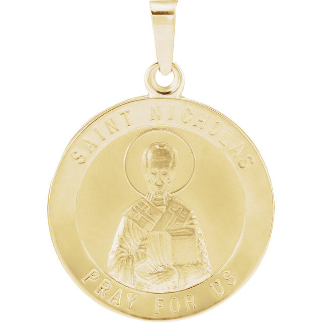 St Nicholas Round Yellow Gold Medal 18 MM
