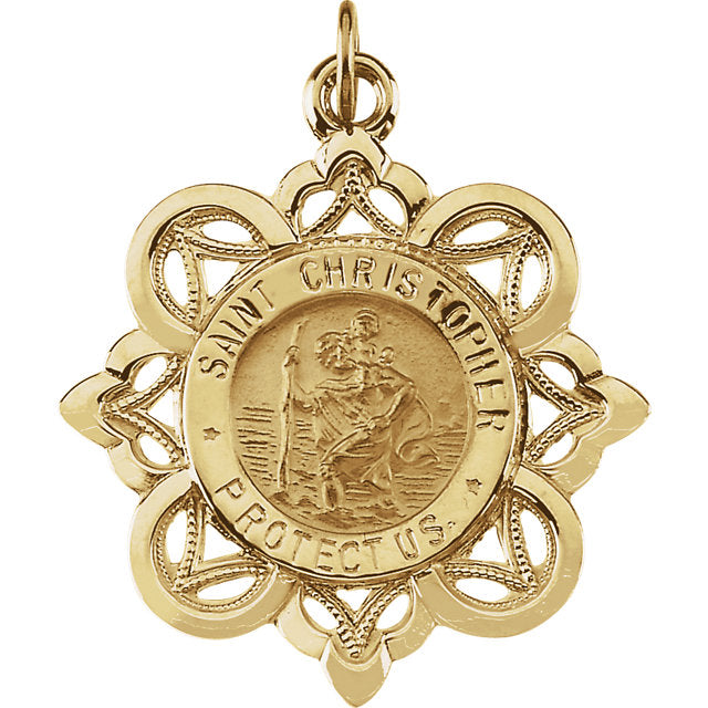 Saint Christopher Crown Pendant in Solid 14 Karat Yellow Gold Protect Us Medal 28 x 26 MM