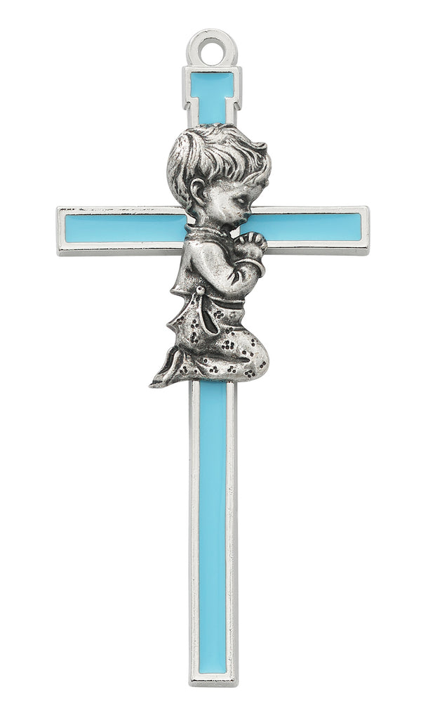 Blue With Silver Color Trim Praying Baby Boy Wall Cross 5 Inches