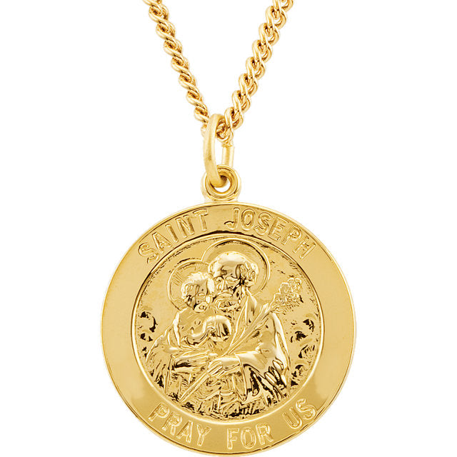 St Joseph 24kt Gold Plated Round Medal With Chain 22 MM