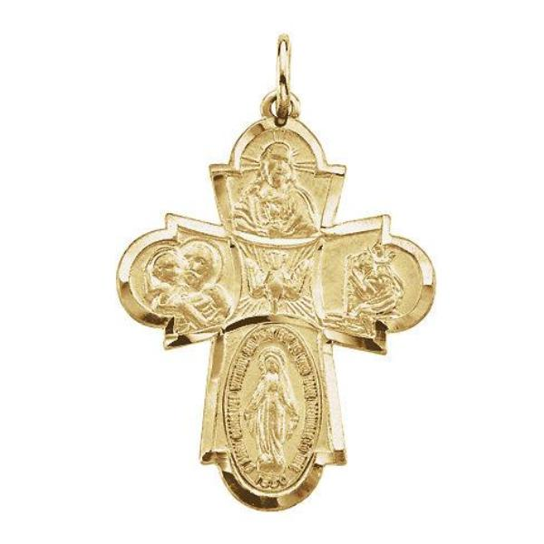 Four Way Pendant Medal 14kt Yellow Gold 29 X 23 MM