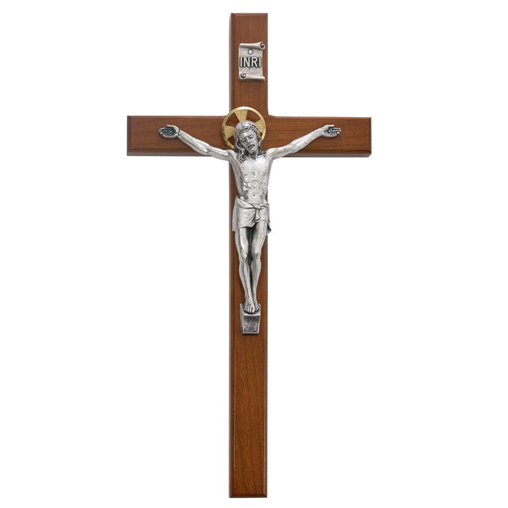 Beveled Cherry Wood Wall Crucifix Cross Silver Color Corpis Gold Color Halo 8 Inch