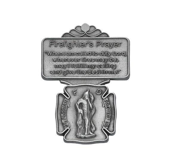 Saint Florian Firefighter Prayer Auto Visor Clip