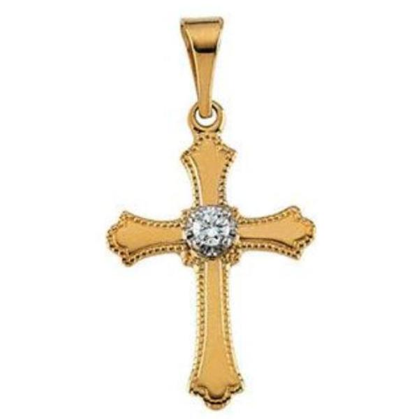 Simple Illusion Top Diamond Solitaire Cross With Beaded Edge Solid 14 Karat Yellow Gold