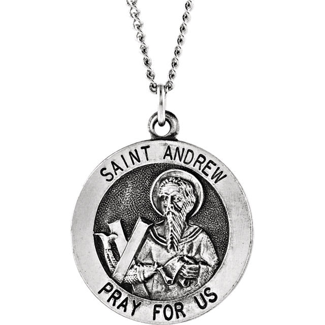 St. Andrew Round Medal Pendant in Sterling Silver 18 MM