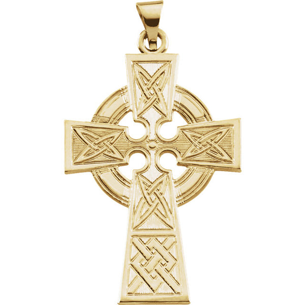 Radiant Celtic Cross Pendant in Solid 14 Karat Yellow Gold 33 X 23 MM