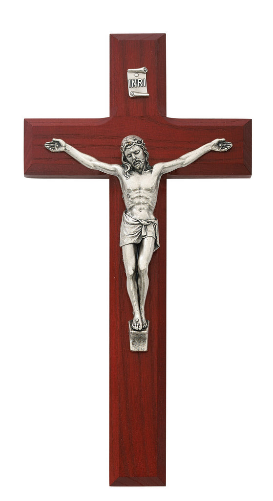 Beveled Cherry Wood Wall Crucifix Cross With Silver Color Corpus And INRI 8 Inches