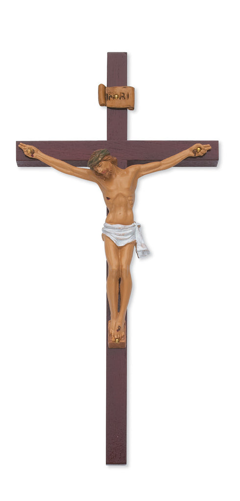 Cherry Wood Crucifix With Italian Corpus and INRI 10 Inch