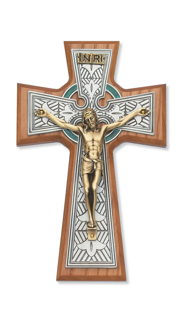 Celtic Crucifix Wall Cross Two Tone 8 Inch On Walnut