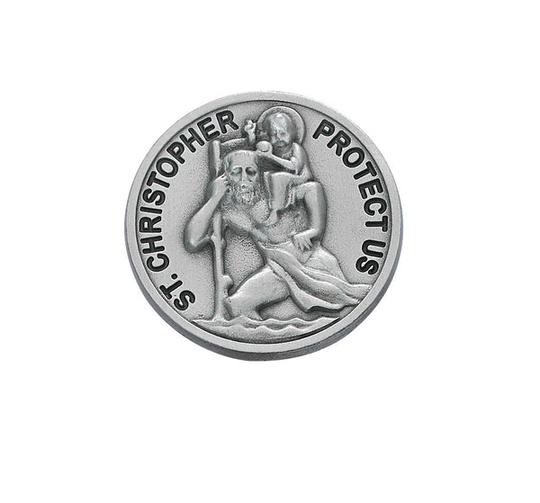 Round St Christopher Cut-Out Auto Visor Clip