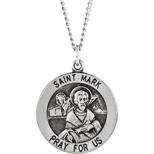 St Mark Round Sterling Silver Necklace 18 MM