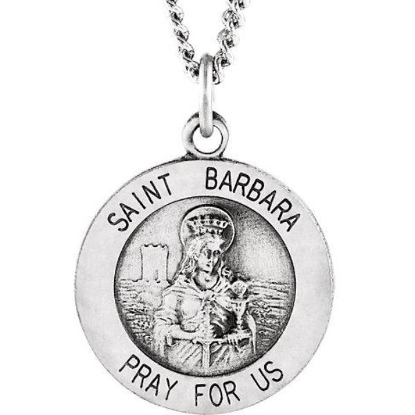 St Barbara Round Sterling Silver Necklace