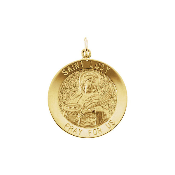 St Lucy Round Medal Pendant in 14 Karat Yellow Gold