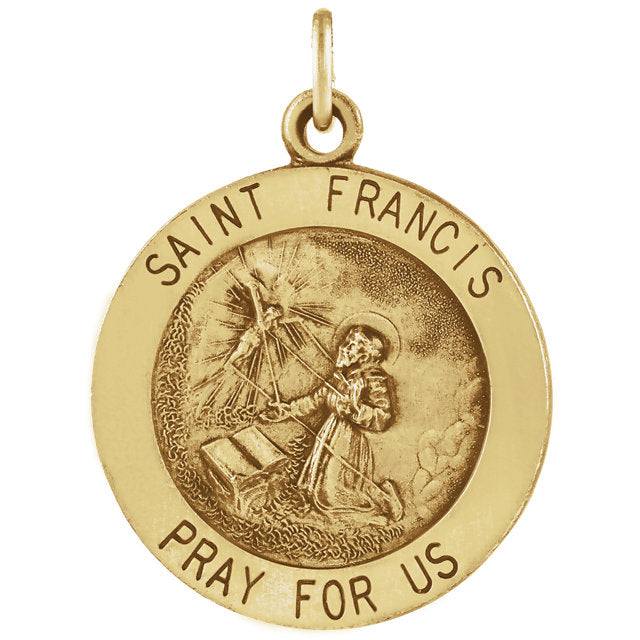 St Francis of Assisi Round Yellow gold Medal