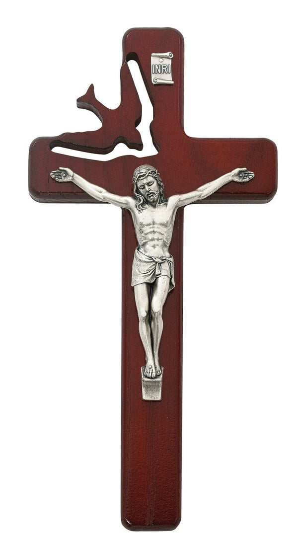 Holy Spirit Cherry Wood Crucifix Wall Cross With Silver Color Corpus 8 Inch