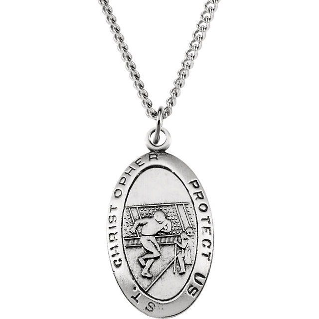 Saint Christopher Football Necklace Medal in Solid Sterling Silver 24 x 15 MM