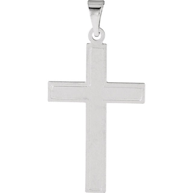 Elegant Cotised Cross in Solid 14 Karat White Gold