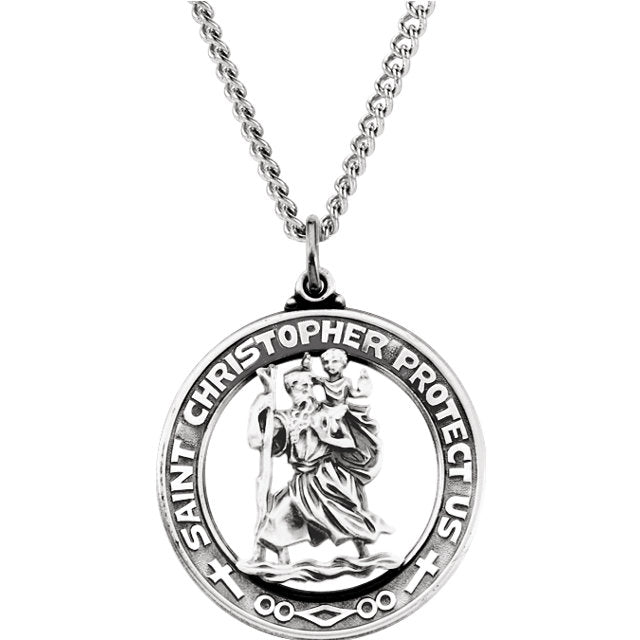 Large Saint Christopher Round Cut Out Solid Sterling Silver Protect Us Medal