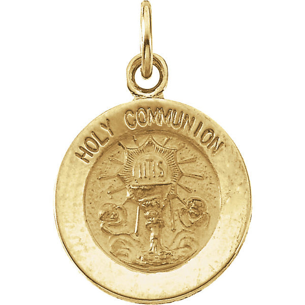 Round Holy Communion Pendant Medal in Solid 14 Karat Yellow Gold