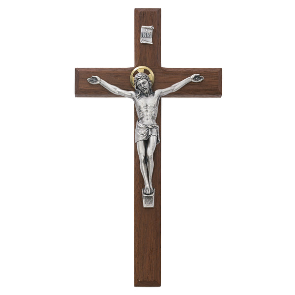 Beveled Walnut Crucifix Wall Cross With Silver Color Corpus And INRI 8 Inch