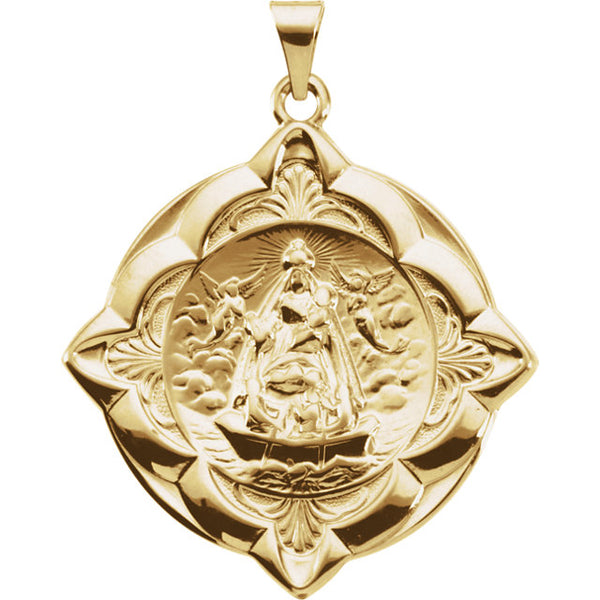 Caridad del Cobre Fancy Medal Pendant in 14 Karat Yellow Gold