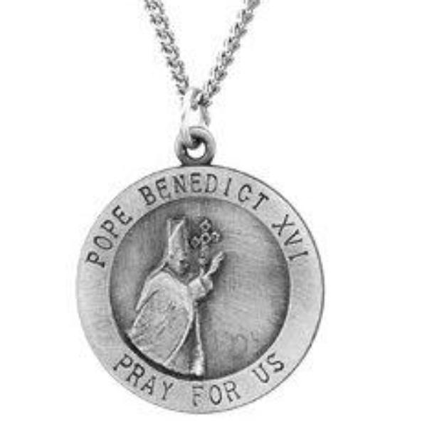 Pope Benedict Sterling Silver Necklace With Chain 18 MM