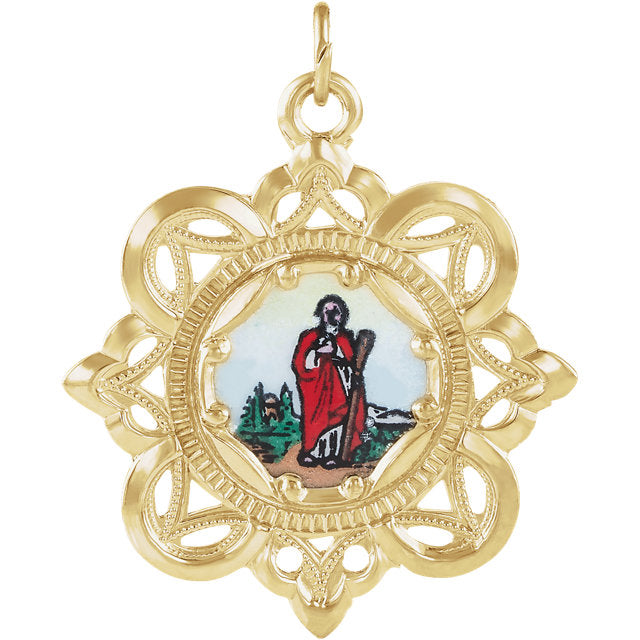 Saint Jude Fancy Enamel Crown Pendant in Solid 10 Karat Yellow Gold Medal 25 MM