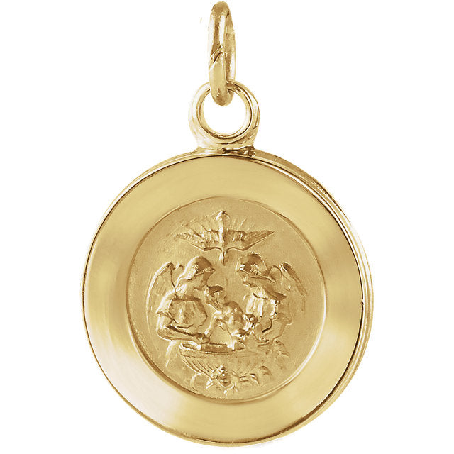 Round Baptismal Medal Pendant in Solid 14 Karat Yellow Gold