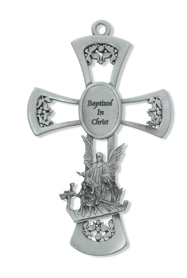 Baptism Wall Cross Guardian Angel Baptized In Christ Baptismal Gift 6 Inch