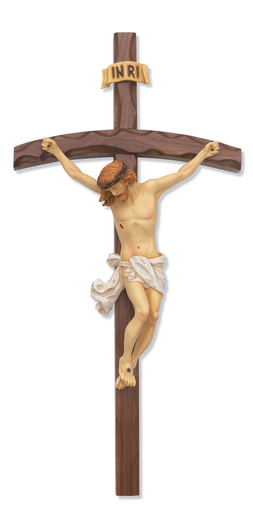 Bent Log Walnut Crucifix Wall Cross With Italian Corpus And INRI 16 Inches
