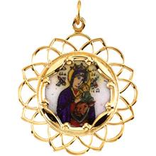 Our Lady of Perpetual Help Framed Color Enamel Pendant in 10 Karat Yellow Gold 25 MM