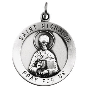 St Nicholas Round White Gold Medal 18 MM