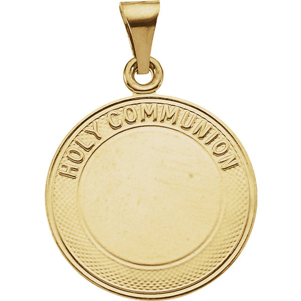 Holy Communion Pendant in Solid 14 Karat Yellow Gold