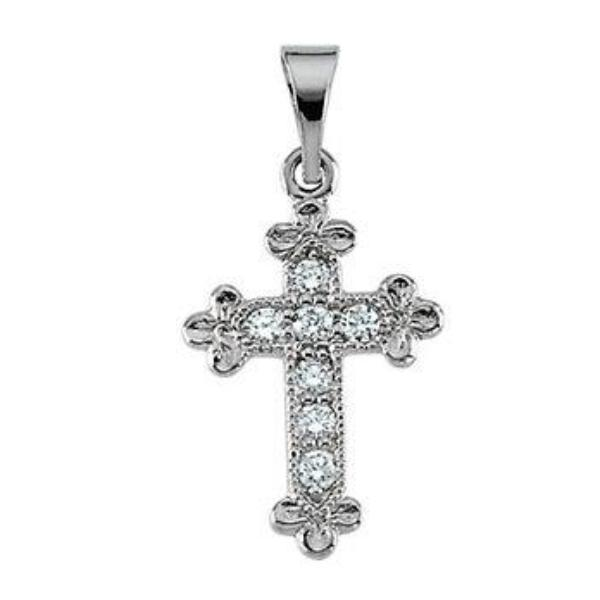 Bottony Diamond Cross in Solid 14 Karat White Gold 14 X 10 MM
