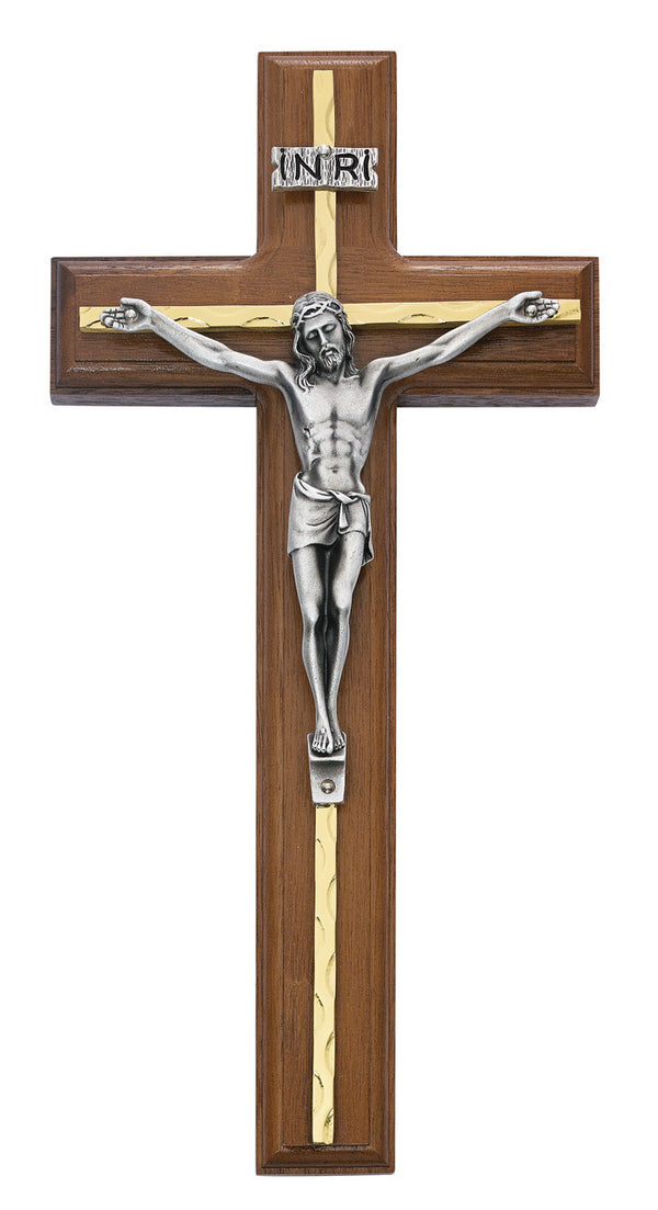 Wall Crucifix Cross In Walnut Wood With Gold Color Overlay And INRI 10 Inch