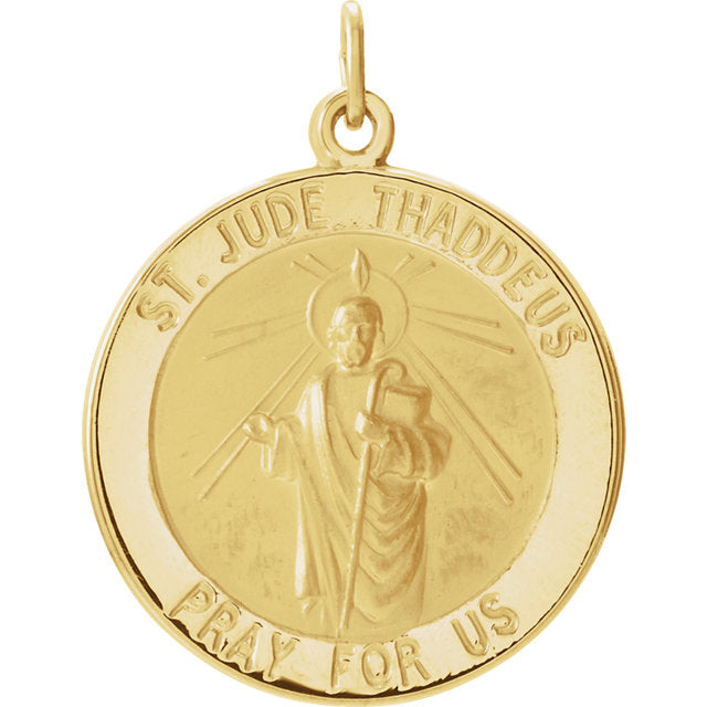 Saint Jude Round Pendant in Solid 14 Karat Yellow Gold Pray for Us Medal