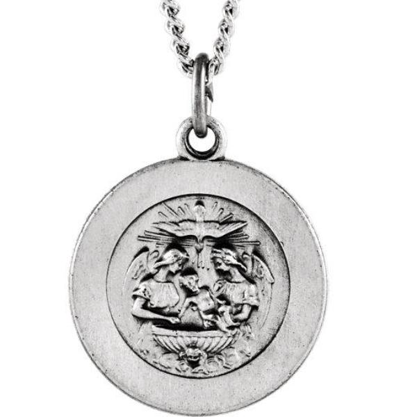 Round Baptismal Medal Necklace in Solid Sterling Silver