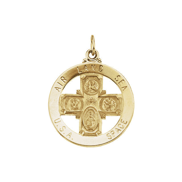 Air Land Sea USA Space Yellow Gold 4-way Saint Christopher Medal