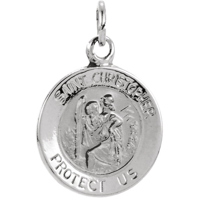 Round Saint Christopher Pendant in Solid White Gold Protect Us Medal