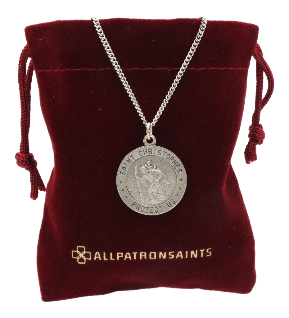 Round St. Christopher Necklace Medal Solid 925 Sterling Silver With Jewelry Gift Box