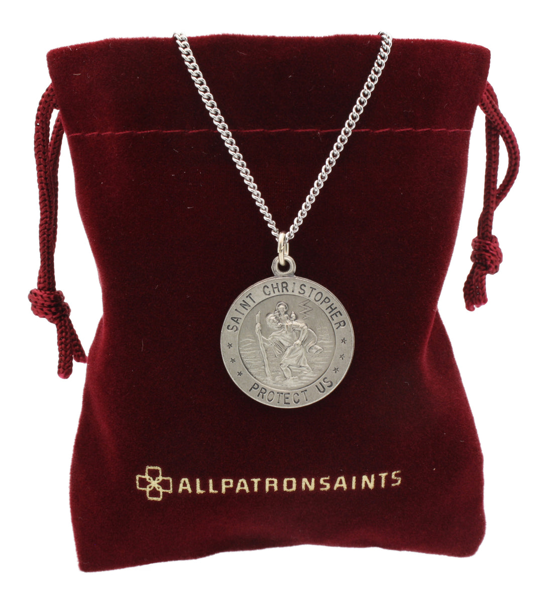 Christopher Medal Medallion with chain Rectangle Sterling Silver St