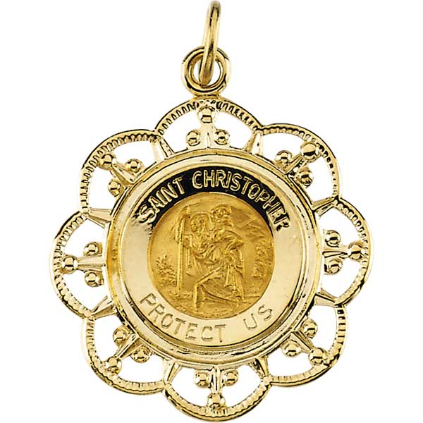Saint Christopher Fleur-De-Lis Solid Yellow Gold Protect Us Medal 23.00x20.00 MM
